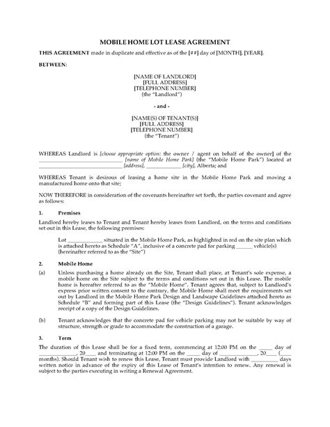 lease agreement template alberta alberta mobile home lot lease agreement forms and