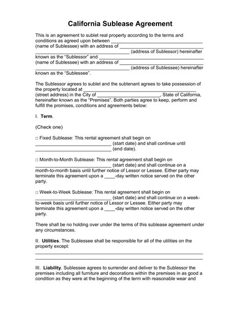 Free California Sublease Agreement Template Pdf Word Eforms Free Fillable Forms Commercial Sublease Agreement Template California