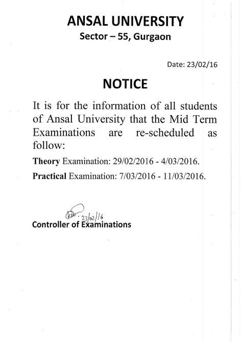 Notice notice for end term examination ansal university