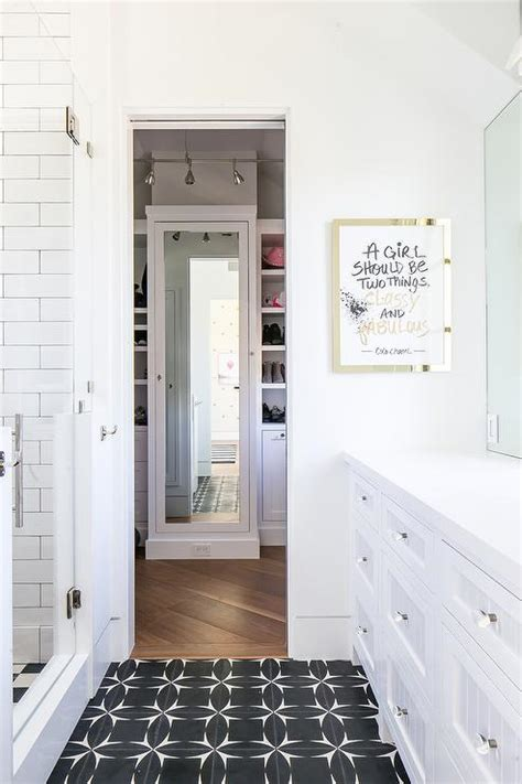 white and black tiles in white kid bathroom contemporary