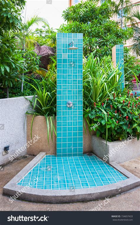 Bathroom Wall Tile Ideas by Outdoor Shower Swimming Pool Stock Photo 154657433