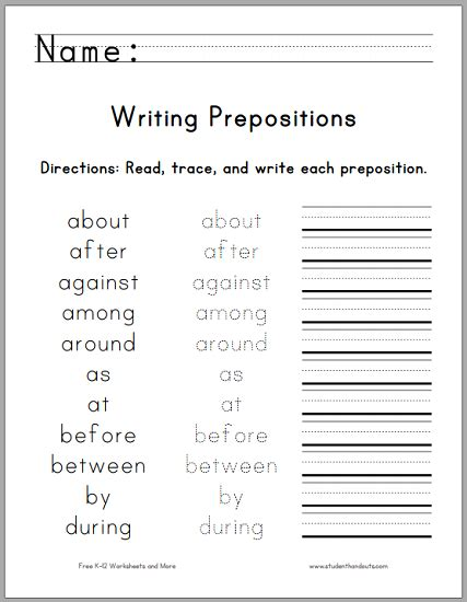 Writing Worksheets For 1st Grade by Printable Preposition Worksheets Middle School 1000