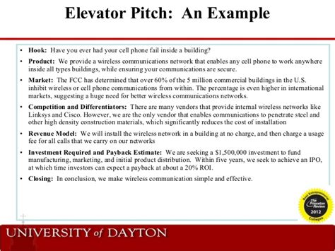 pitch template elevator pitch exles alisen berde