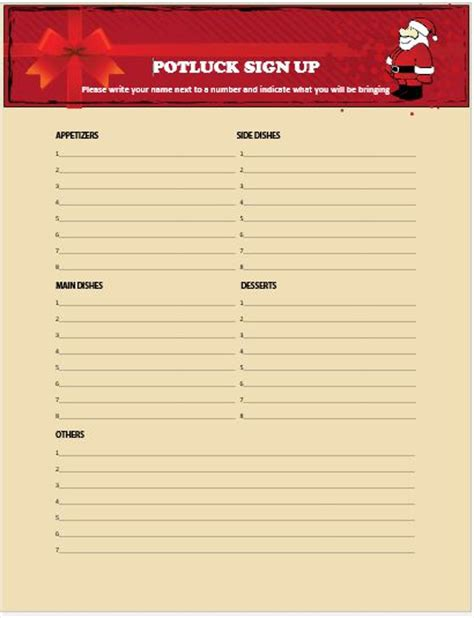 christmas sign up sheet 13 gorgeous potluck signup sheets to impress your guests demplates