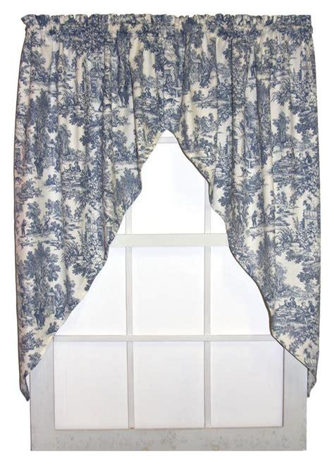 toile print curtains victoria park toile print jabots window curtains pair
