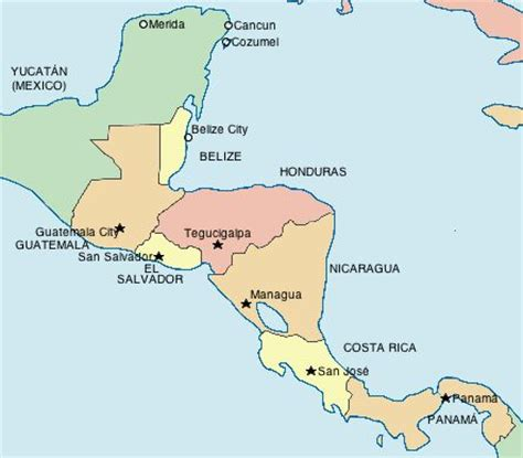 central america map with states and capitals map of central america with countries and capitals