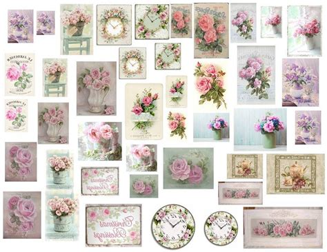 Dollhouse Miniature Shabby Chic Decals 1 12 Scale Pictures Shabby Chic Decals