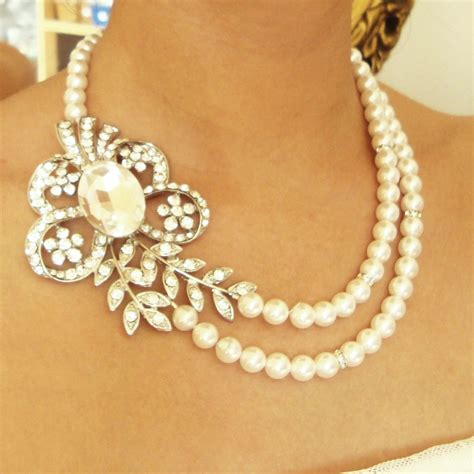 pearl bridal necklace vintage wedding jewelry deco