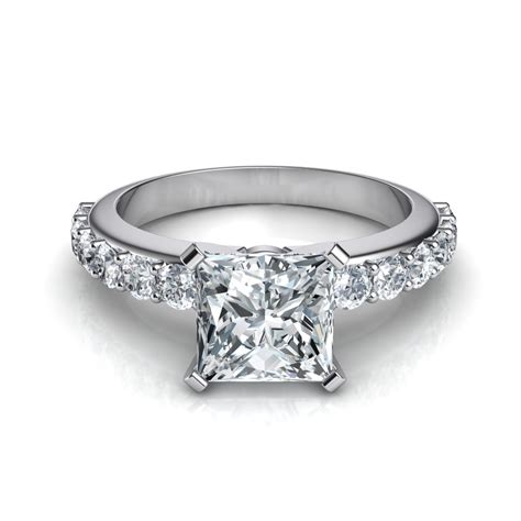 shared prong vintage style princess cut engagement ring