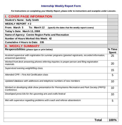 Internship Weekly Report Template Sle Report Writing Format 46 Free Documents In Pdf