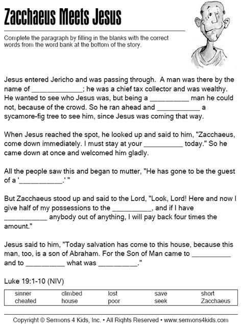 the story of zacchaeus worksheet zacchaeus meets jesus cloze puzzle