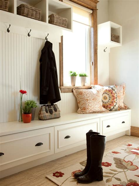 Funky Coat Hooks custom built in mudroom cubby design with hooks under wall