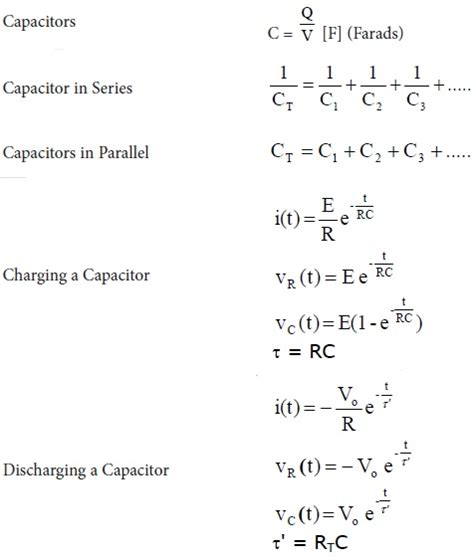 capacitor basic formulas capacitance capacitor equation eee
