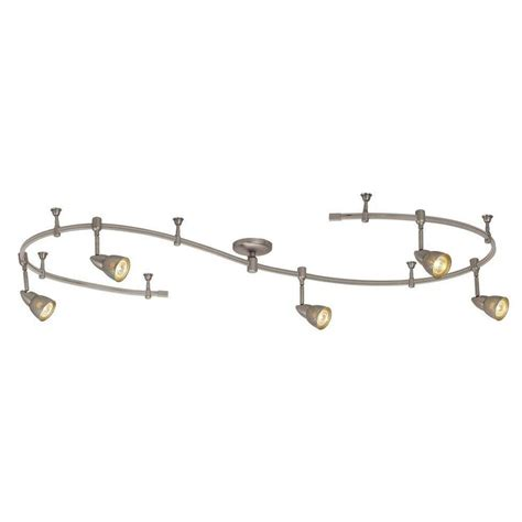 Hton Bay 10 Ft 5 Light Brushed Steel Line Voltage Track Lighting Fixtures