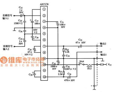 integrated circuit lifier an7178 dual channel power lifier integrated circuit lifier circuit circuit diagram