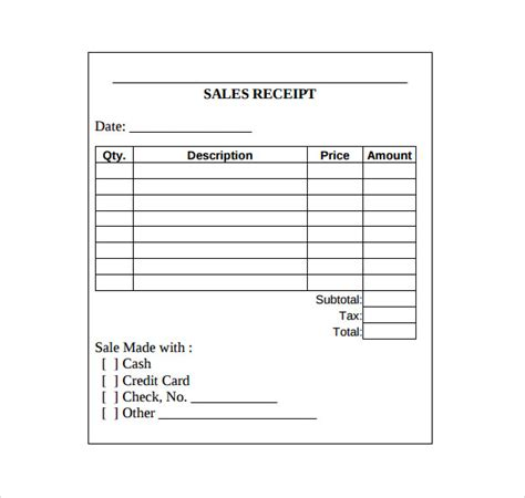free printable sales receipt template printable receipt template free search results