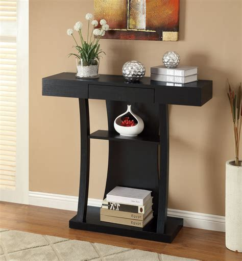 contemporary sofa table black black finish console sofa table with drawer contemporary