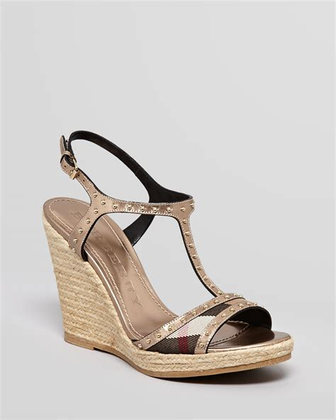 burberry sandals lyst burberry espadrille platform wedge sandals laleham
