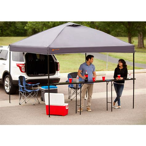 Gazebo With Bar Table 10x10 Ez Pop Up Tent Instant Shelter Tent Gazebo Shade Black Ebay