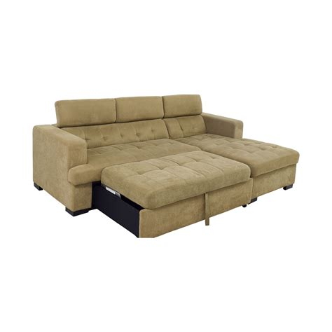 Sectional Sleeper Sofas With Chaise 59 Bob S Furniture Bob S Furniture Gold Chaise Sectional Sleeper Sofa Sofas