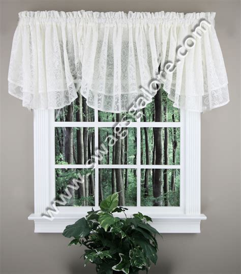 lace curtains swags galore curtains mia decorative lace layered ascot valance beige