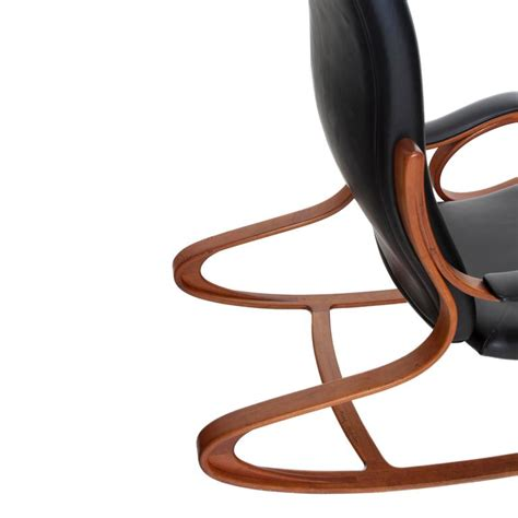Handcrafted Rocking Chairs - studio made handcrafted bent wood and black leather