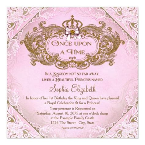Once Upon A Time Princess 1st Birthday Invitation Ladyprints Once Upon A Time Invitation Template
