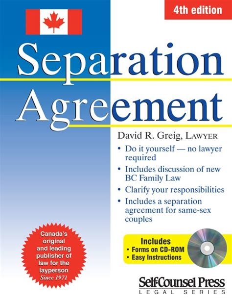 divorce agreement template canada separation agreement for canada