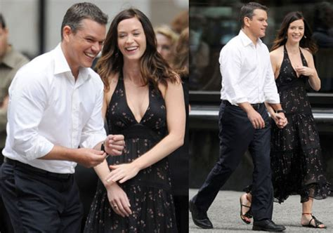 emily blunt latest movie pictures of matt damon and emily blunt filming the