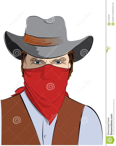 pattern white bandit mask price vector cowboy with mask bandit stock vector illustration