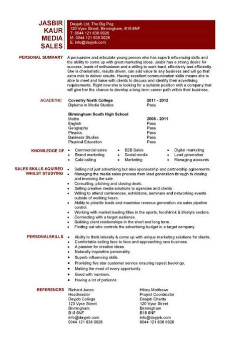 media resume template student entry level media sales resume template