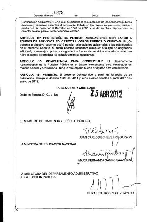 decreto salario del decreto 1278 decreto salarios 1278 dto 00826 de abril 25 de 2012