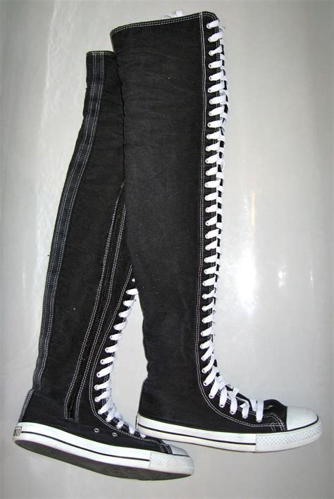 converse style thigh knee high boots