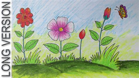 How To Draw A Garden With Flowers How To Draw A Scenery With Flowers For Version