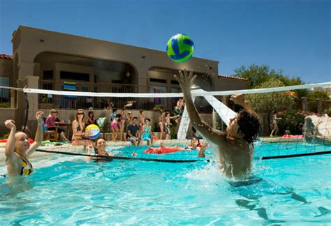 backyard pool exercises volley ball net sets and gear