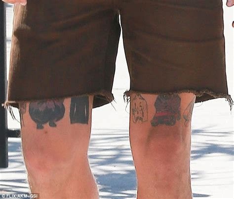 above knee tattoo shia labeouf shows some interesting tattoos just above