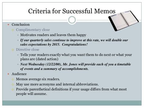 Memo Format Conclusion Memo And Other Letter Formats