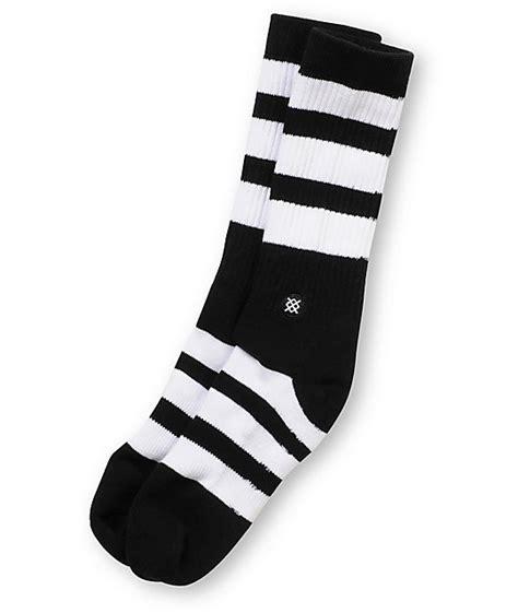 sock black and white stance shift black white striped crew socks zumiez