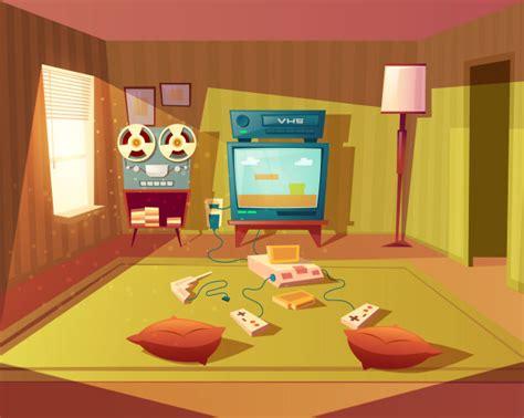 console per bambini fumetto illustrazione della sala giochi vuota per i