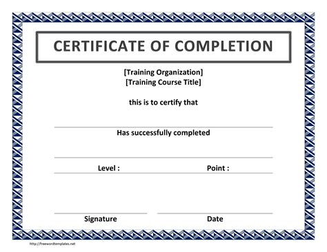 template of certificate of completion templates for certificates of completion http