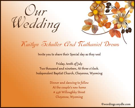Wedding Invitation Wording Sles