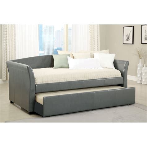 Daybed With Trundle And Mattress Furniture Of America Contemporary Leatherette Upholstered Daybed With Trundle Daybeds At Hayneedle