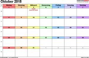 Kalender Oktober 2018 Kalender Oktober 2018 Als Excel Vorlagen