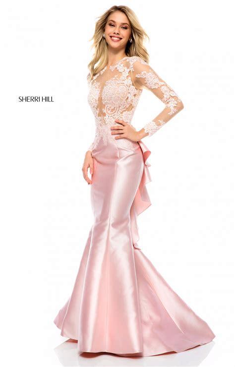 sherri hill  long mikado mermaid sleeves prom dress