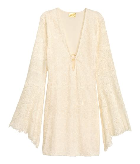 Dress H Lace White lyst h m lace dress in white