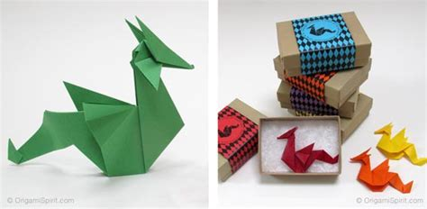 Easy Origami Dragons - easy origami paper to make as a pin