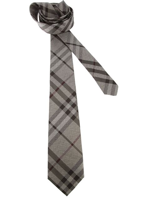 burberry classic check tie in gray for grey lyst
