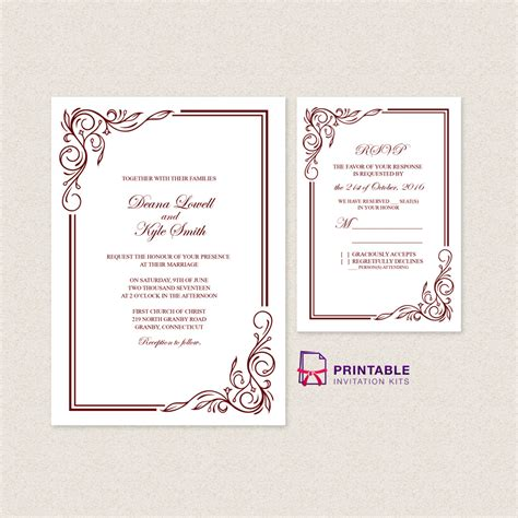 Scroll Border 2017 Wedding Invitation Template Rsvp Wedding Invitation Templates Printable Border Invitation Templates Free