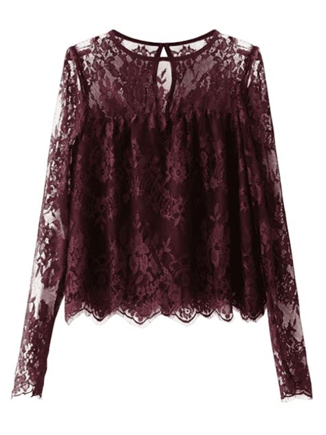 See Through Lace Blouse scalloped see through lace blouse purplish blouses s zaful