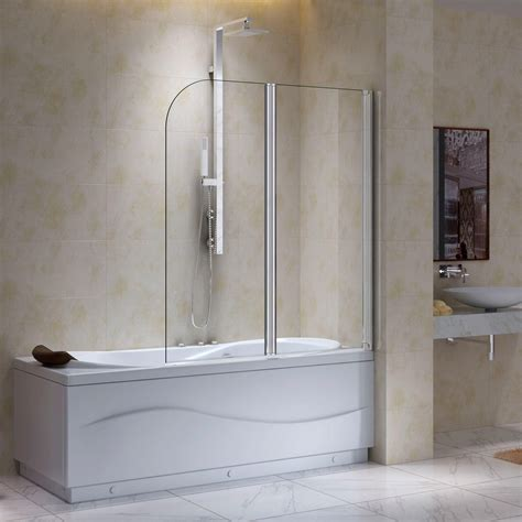 bathtub glass screen derek double hinged shower screen with curved edge bathroom
